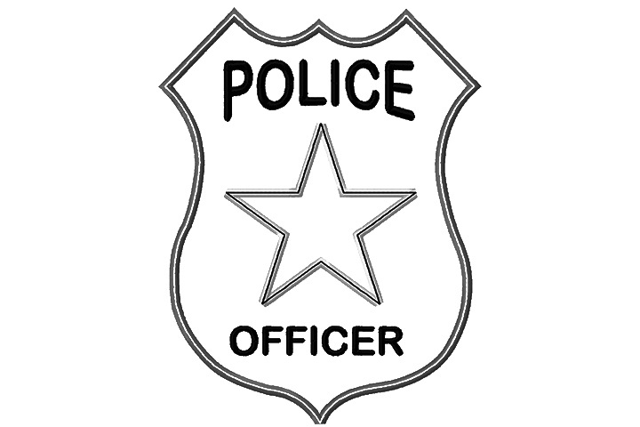 Badge clipart cop badge. Policeman kind of letters
