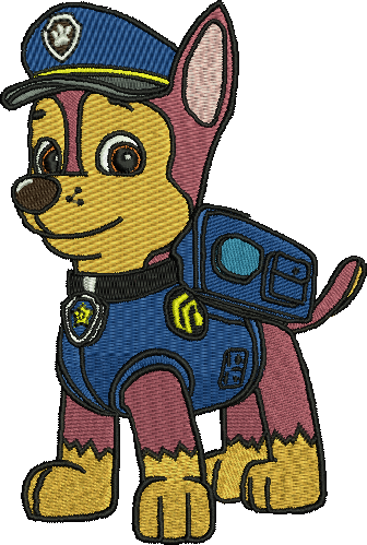 Embroidery drawing cartoon. Chase paw patrol designs