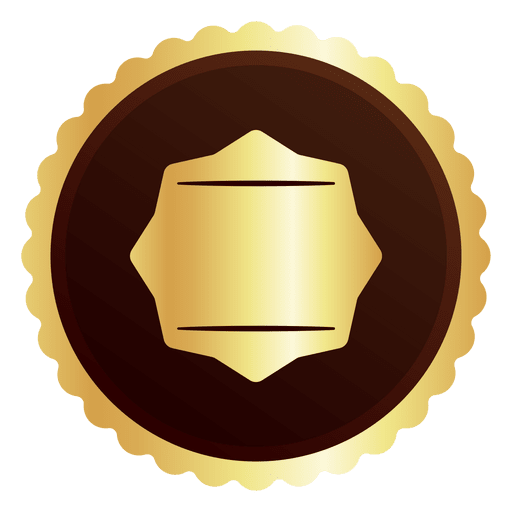 Badge shape vector png. Round golden transparent svg