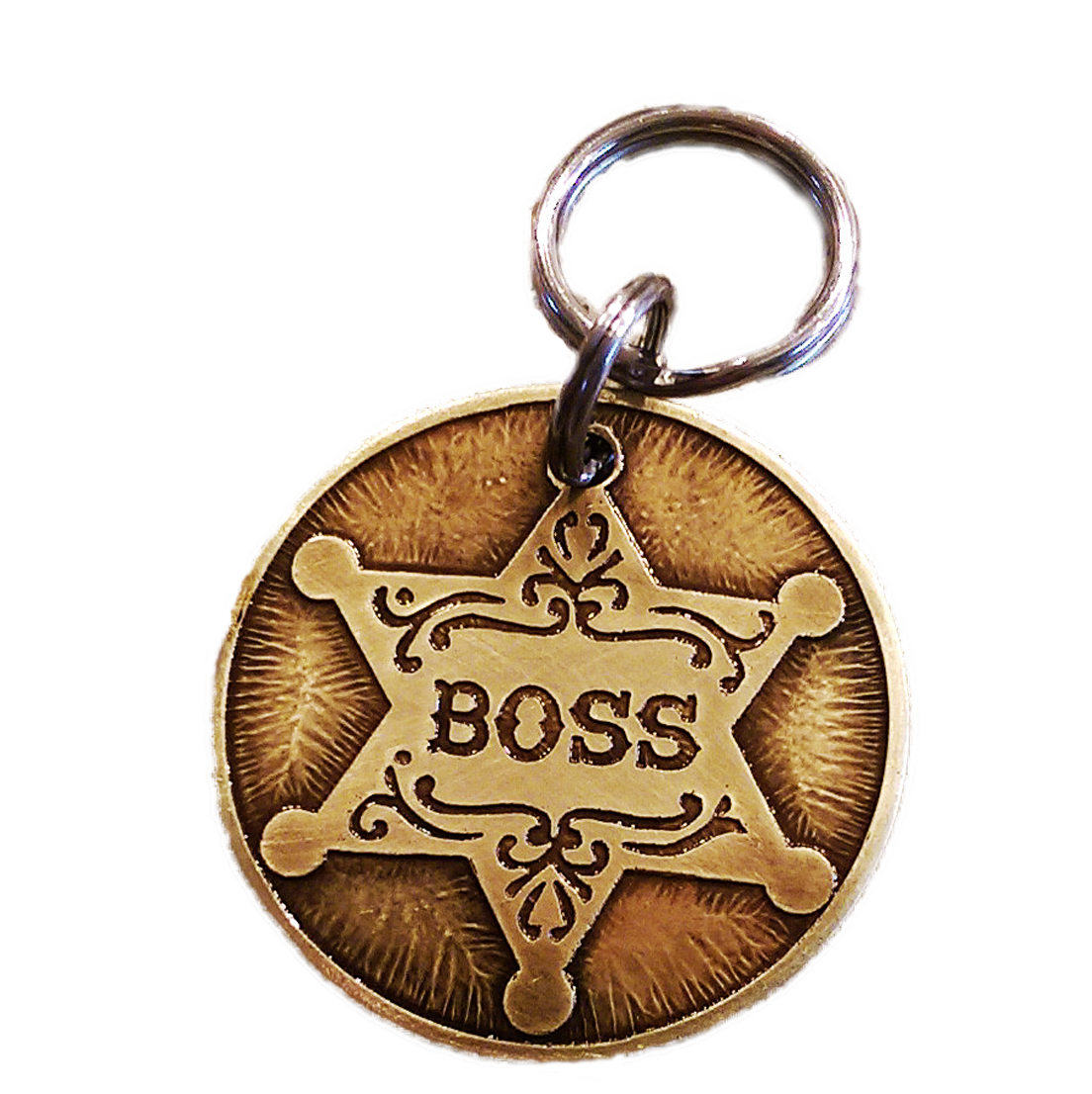 Badge transparent fancy. Dog tag in brass