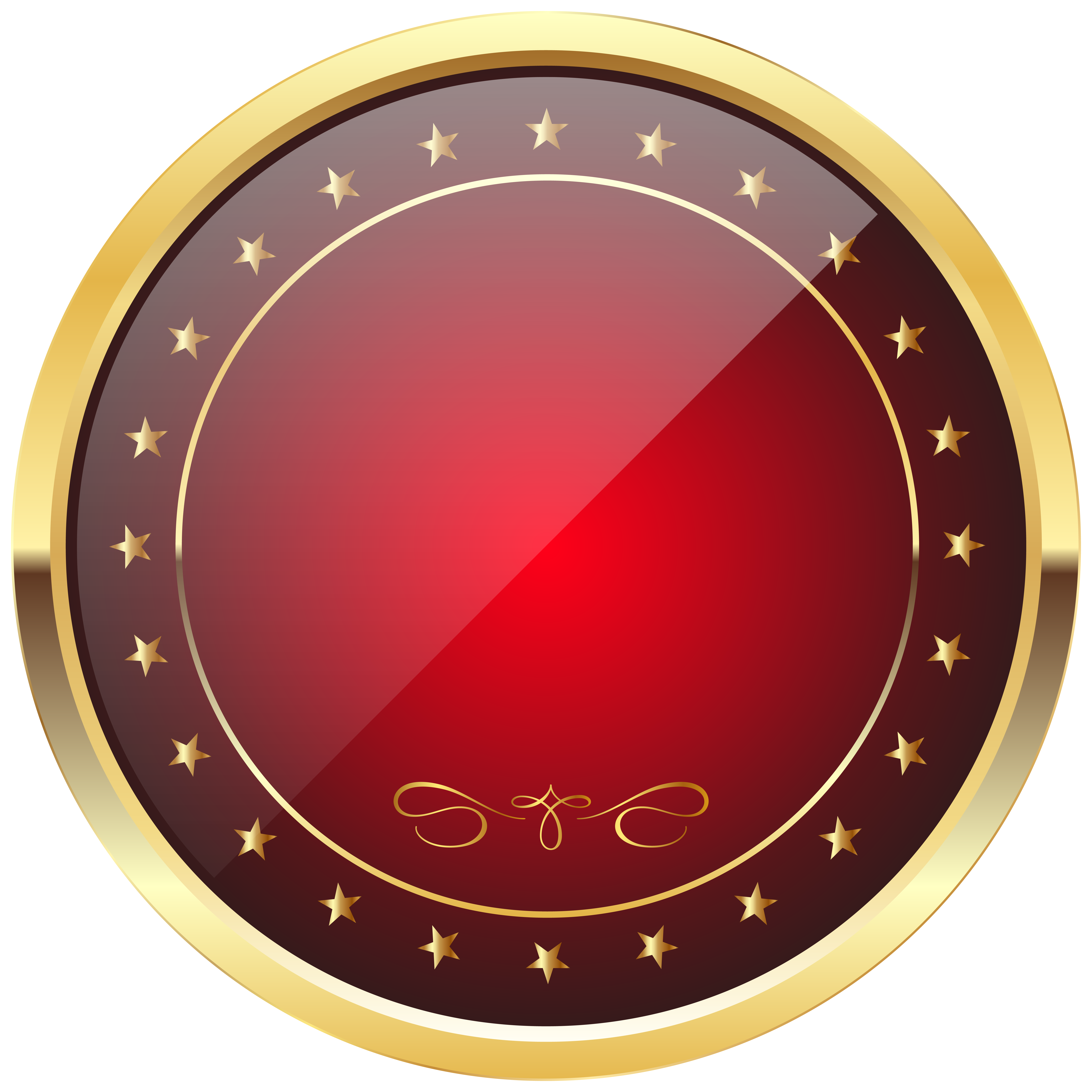 Badge transparent golden. Red and gold template