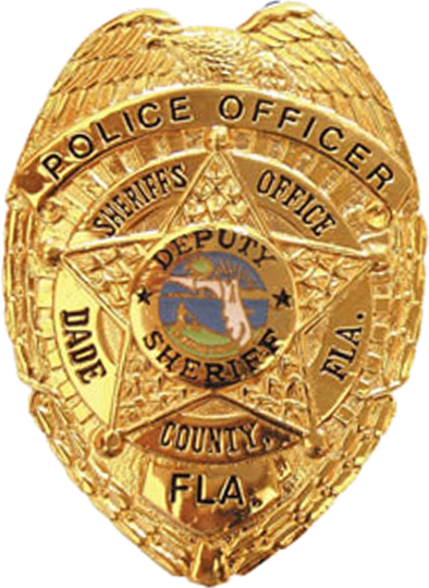 Badge transparent police officer. File of the miami