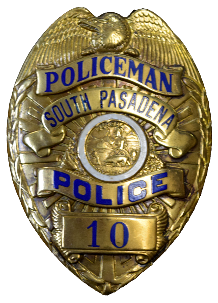 Badge transparent police officer. City of south pasadena