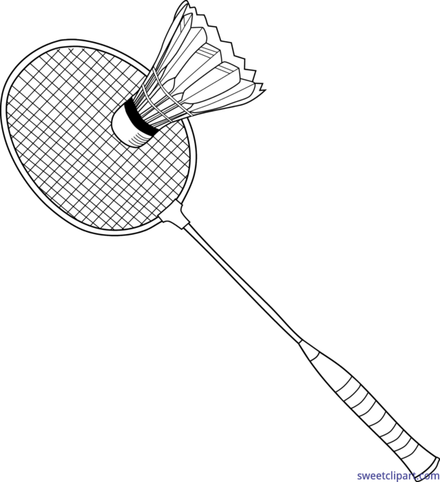 Badminton clipart drawing. Lineart clip art sweet