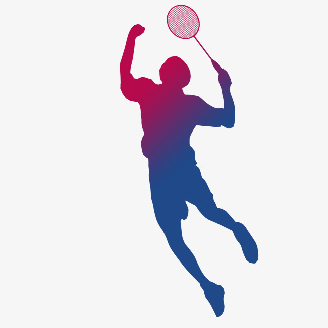 Playing silhouette player racket. Badminton clipart volleyball game banner royalty free