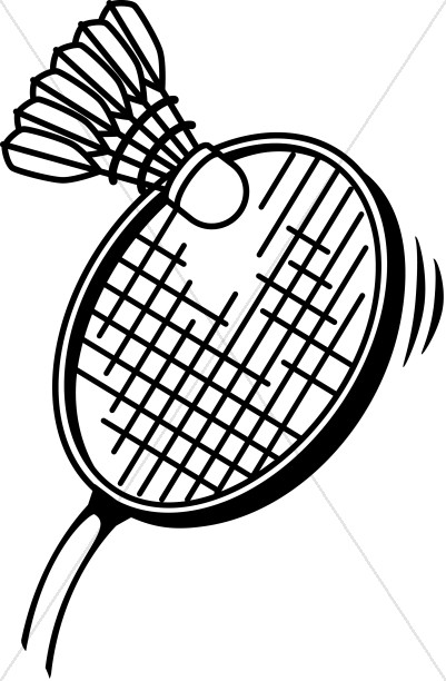Badminton clipart. In black and white