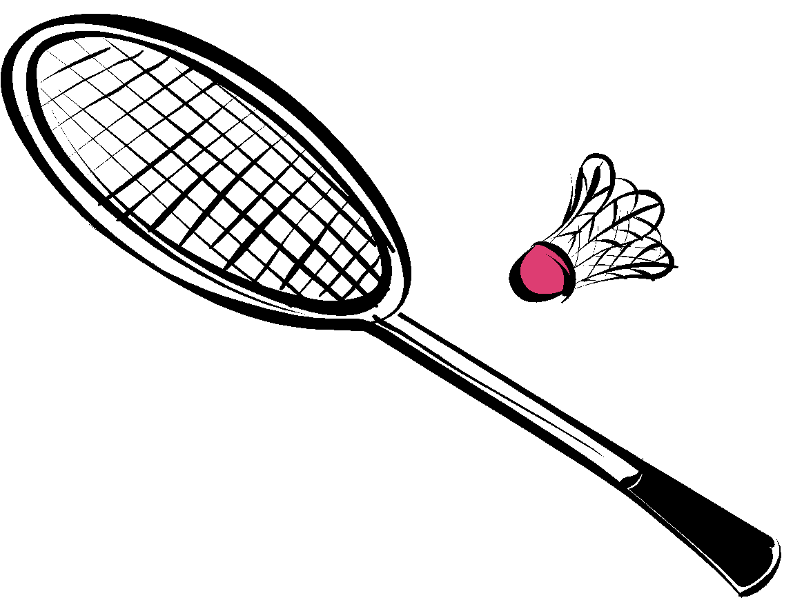 Badminton drawing. Collection of equipments