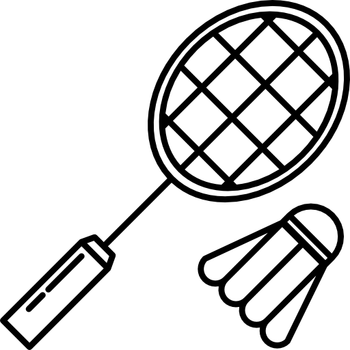 Equipment free sports icons. Badminton drawing outline royalty free