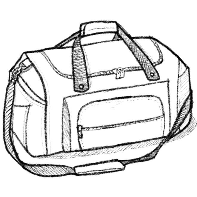 Bag clipart duffle bag. Line drawing at getdrawings