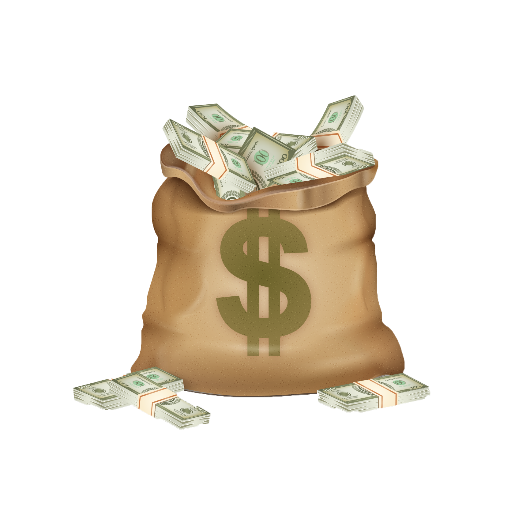 Bag of coins png. Money dollar sign coin
