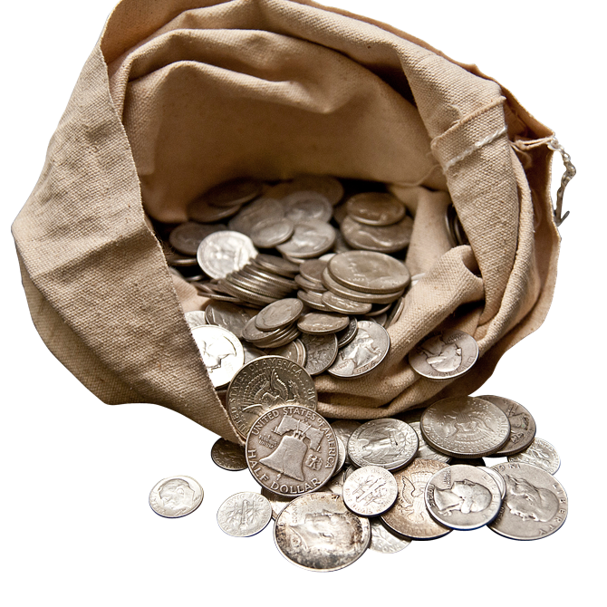 Bag of coins png. Junk silver face