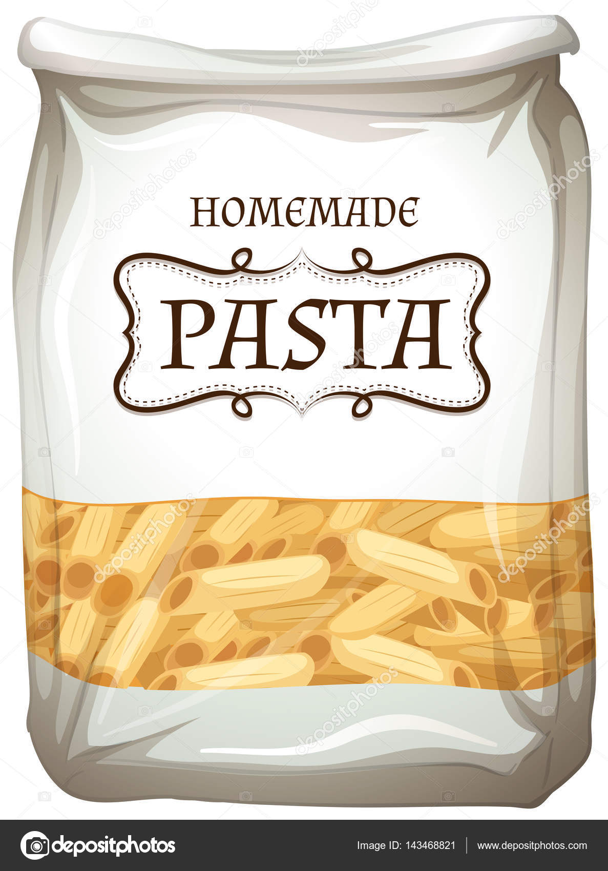 Bags clipart pasta. Homemade in bag stock
