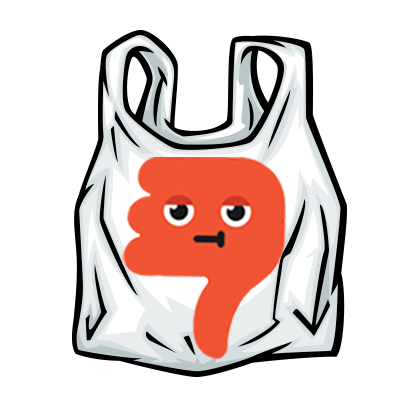 Garbage drawing plastic waste. Better bag habits a