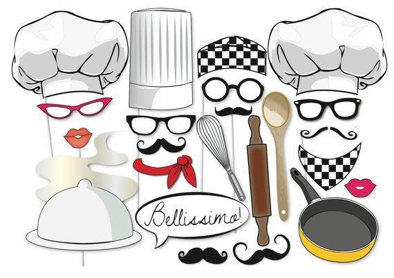Bake clipart baking competition. Photobooth party props set