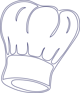 Baker drawing chef hat. Outlined clip art vector
