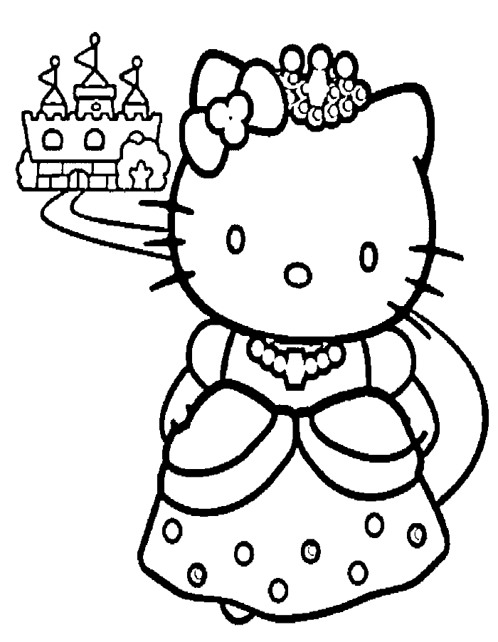 Baker drawing colouring page. Hello kitty and a