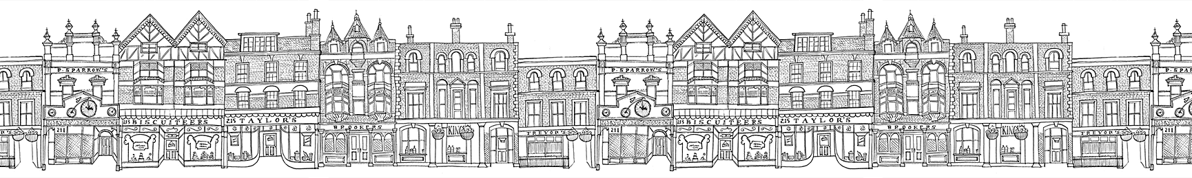 Baker drawing shopfront. Biscuiteers notting hill icing