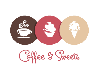 Baker drawing sweet shop. Coffee and sweets logo
