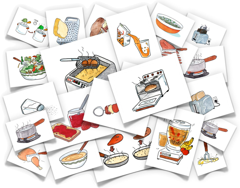 Clip cards blend. Cooking verbs comes with
