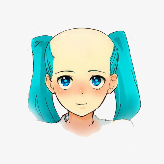 Bald clipart bald girl. Blue haired material png