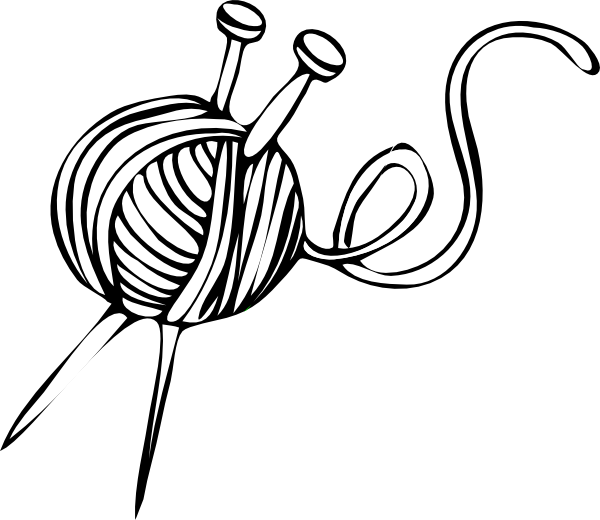 Ball clip sketch. Yarn and knitting needles