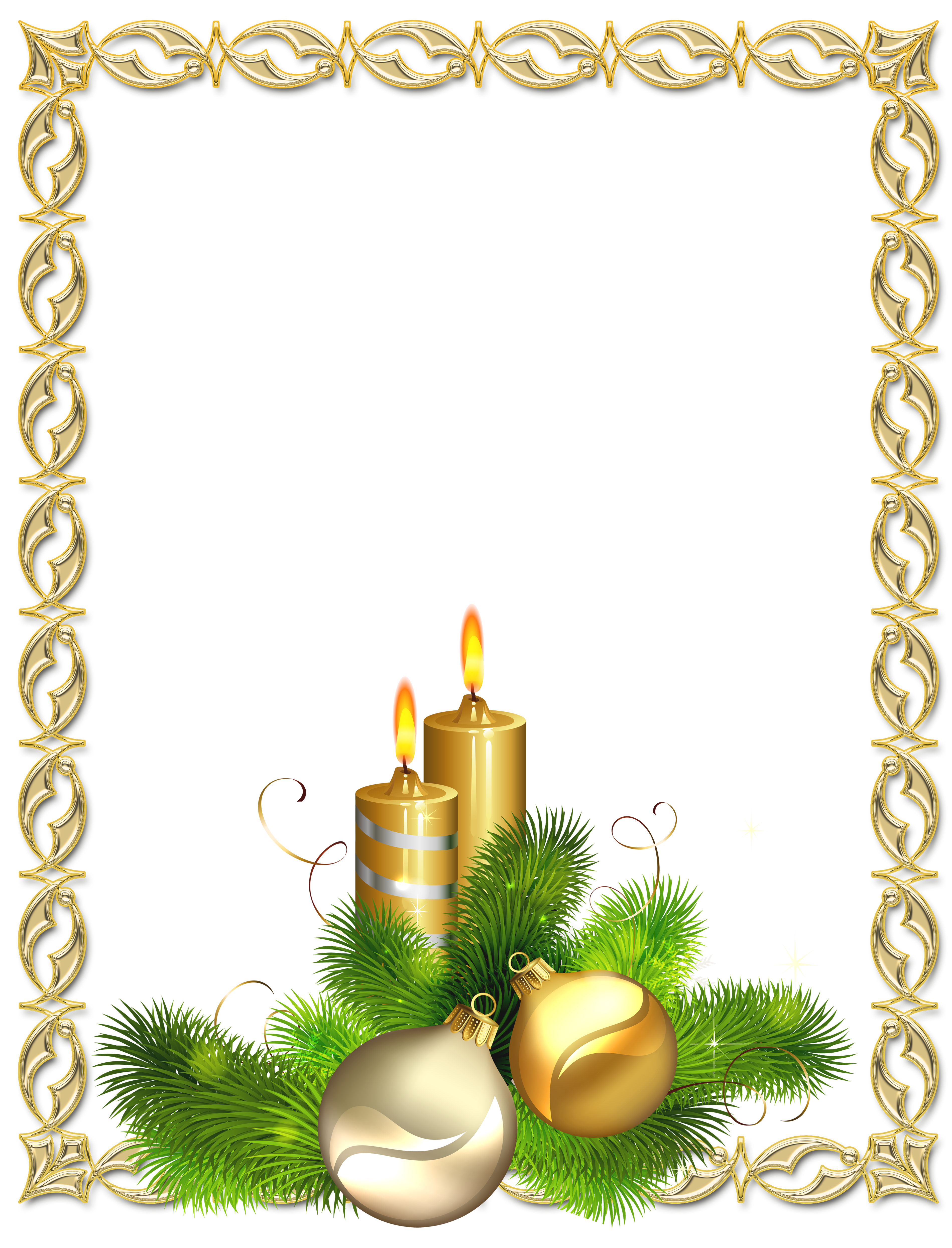 Ball clipart frame. Large transparent gold christmas