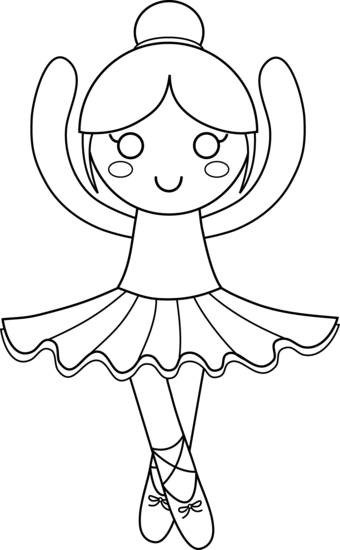 Ballerina clipart. Cute coloring page free