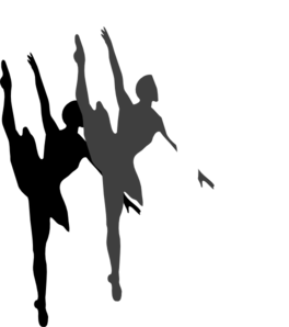 Ballet vector art. Triple dancer silhouette clip