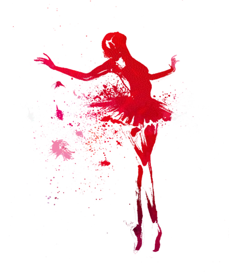 Ballet vector watercolor. Dancer painting drawing silhouette