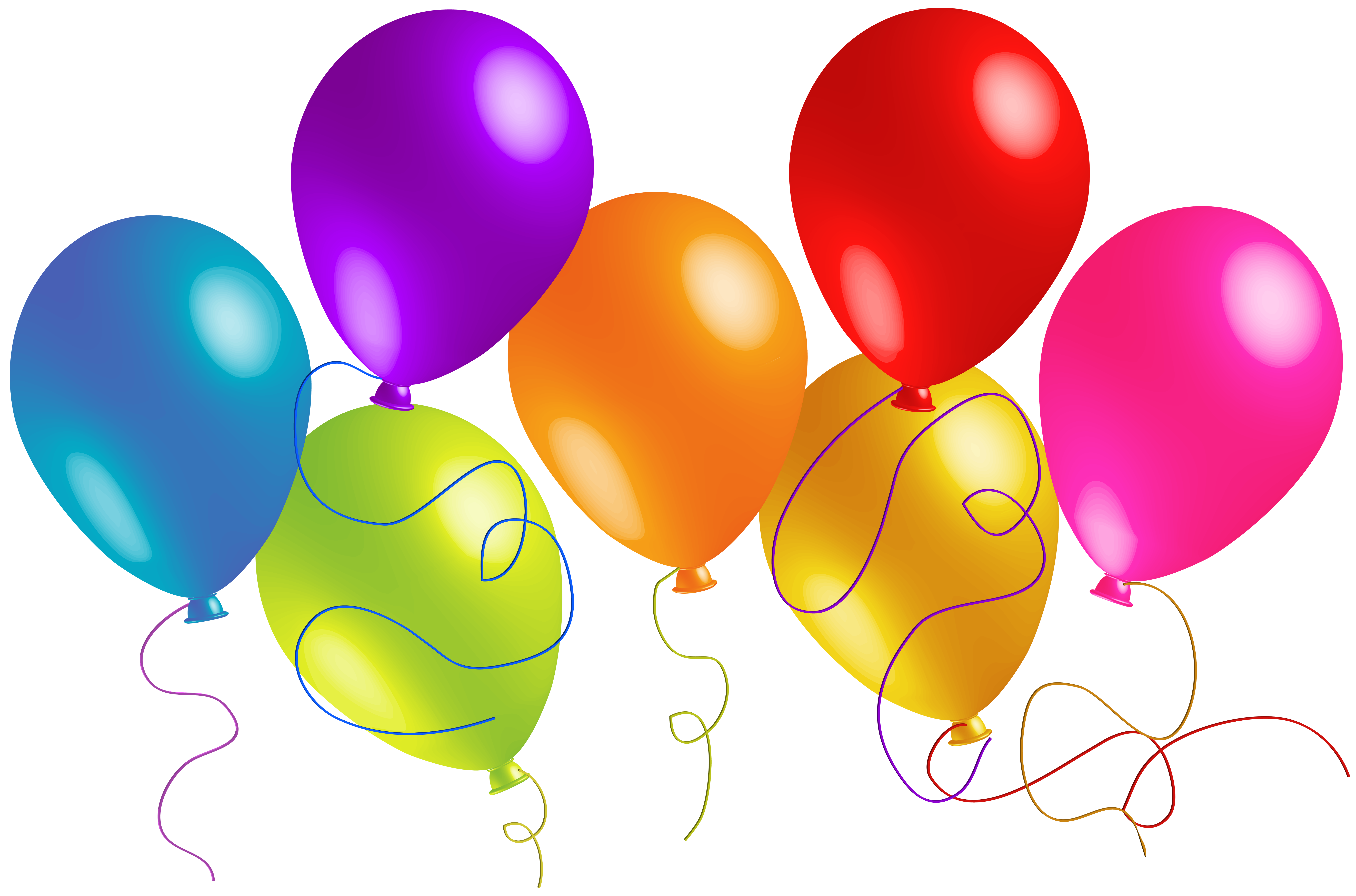 Ballon clipart. Large transparent colorful balloons