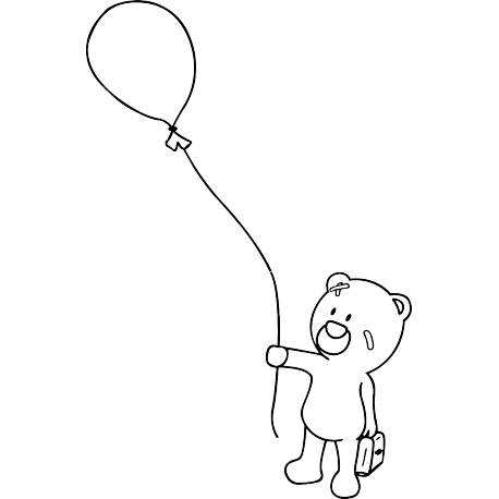 Ballon drawing baby bear. Balloon and stickers teddy
