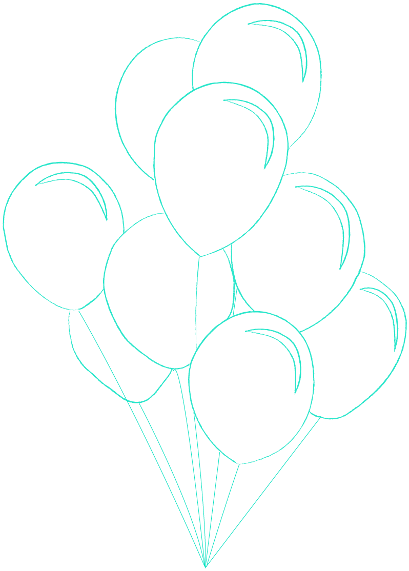 Confetti drawing balloon design. New years eve safety