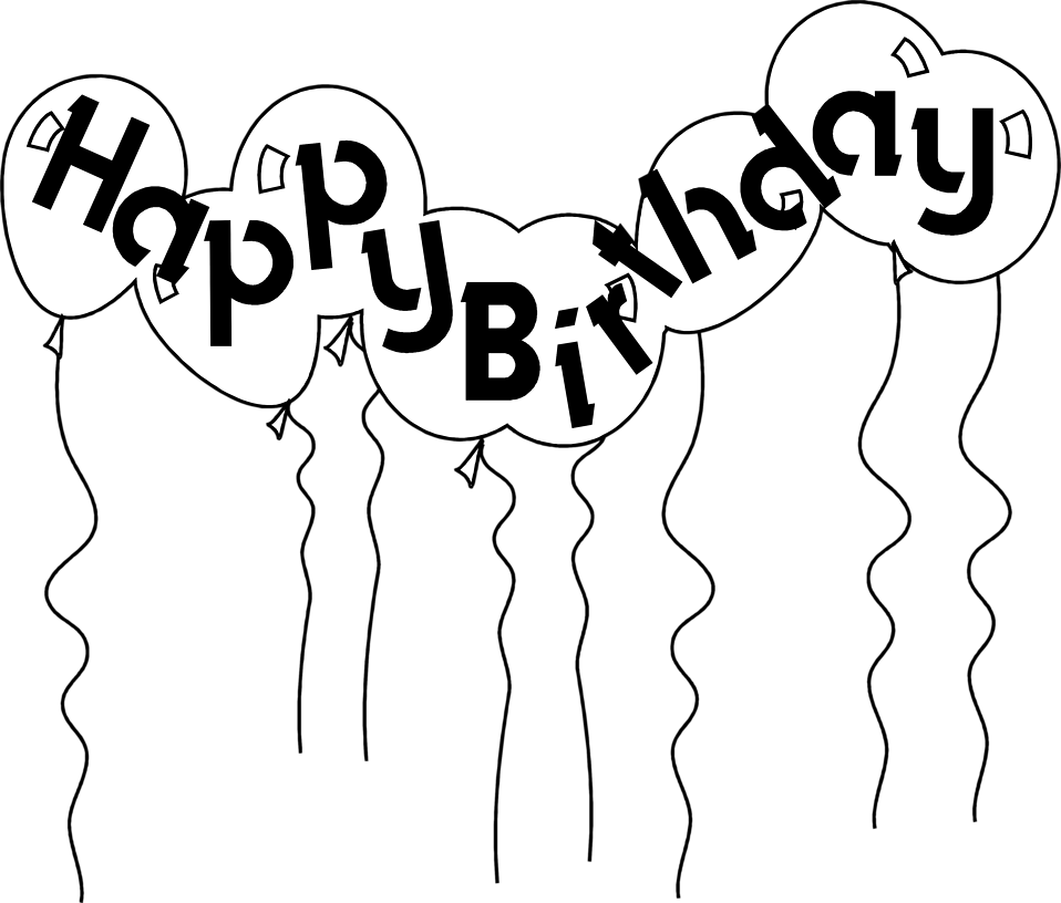 Drawing photos happy birthday. Lineart balloon for