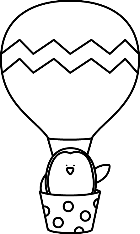 Ballon drawing penguin. Black and white in