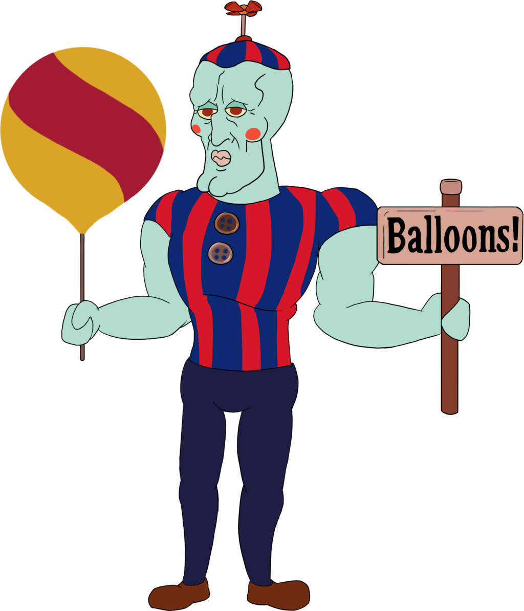 Ballon drawing kid. Marionette in blood baloon