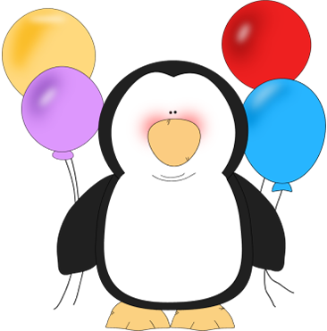 Penguin clipart birthday. With balloons penquins pinterest