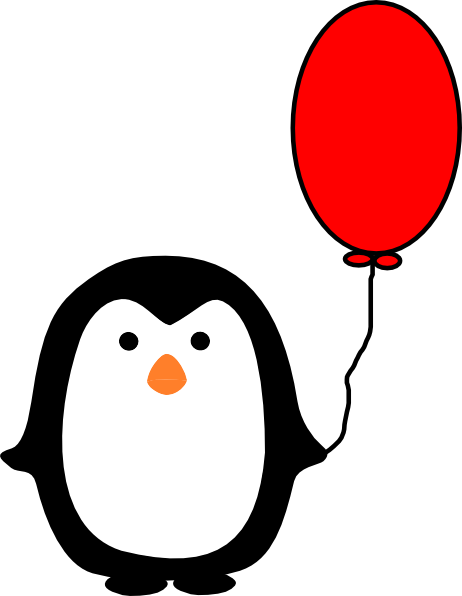 Ballon drawing penguin. With red balloon clip