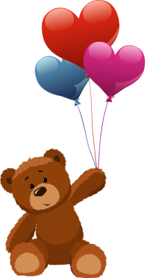 Ballon drawing love balloon. Teddy bear holding heart