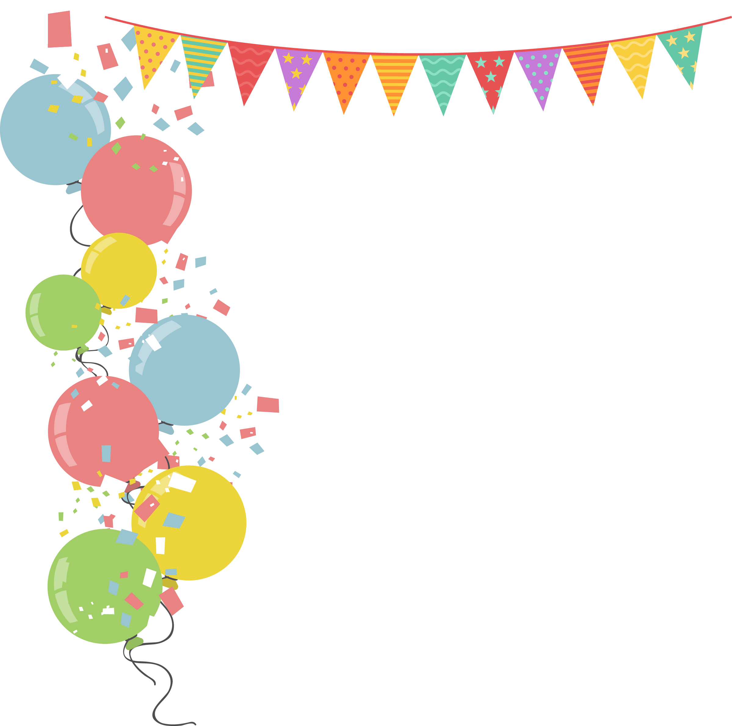 Balloon border png. Party stock illustration colorful