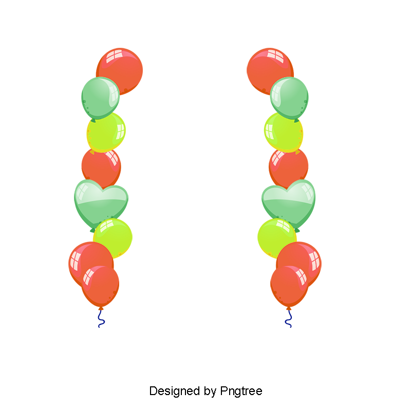 Balloon border png. Color clipart ball colorful