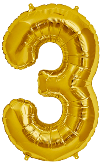 Balloon numbers png. Number three jumbo gold