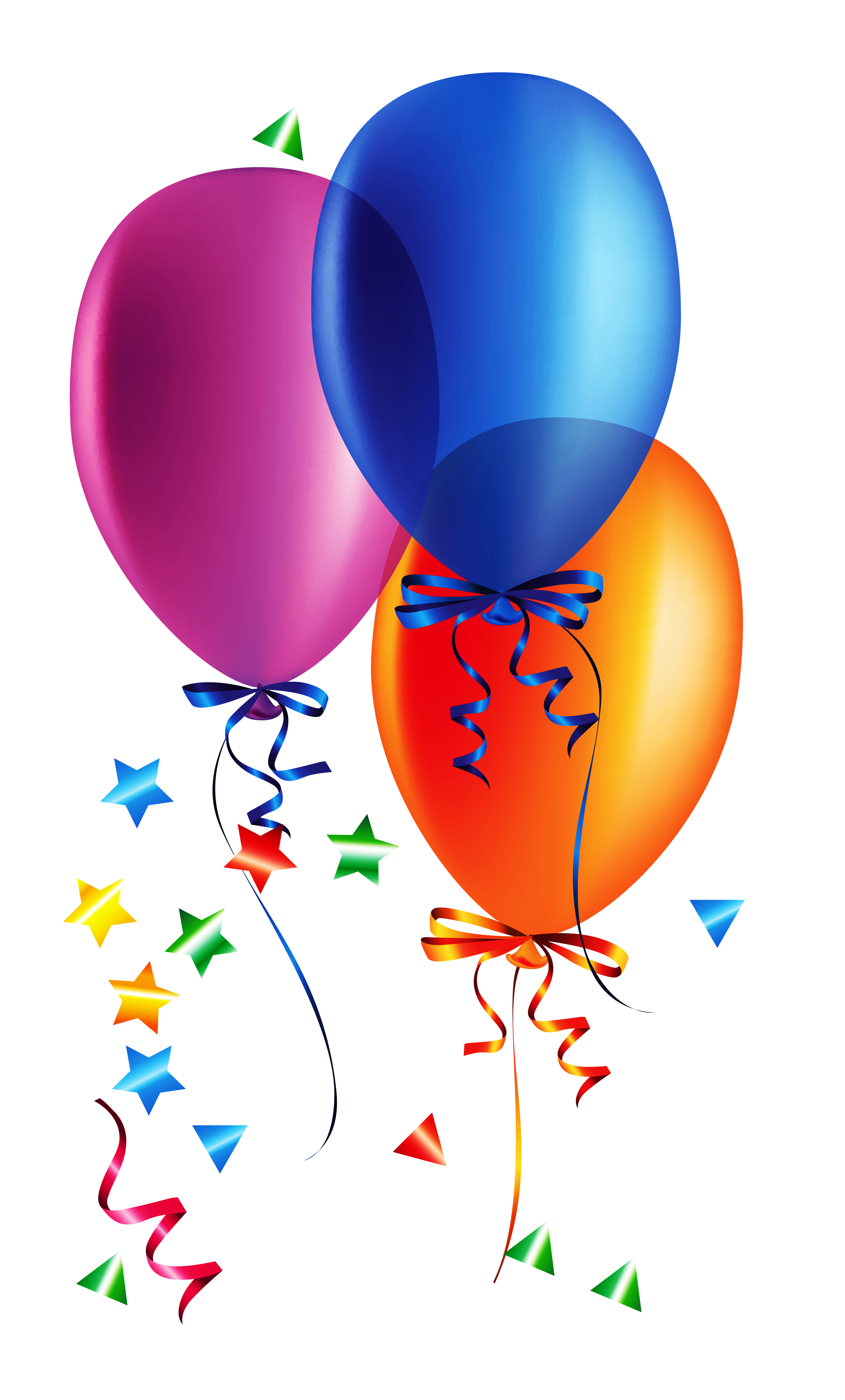 Balloon png transparent background. Balloons with confetti clipart