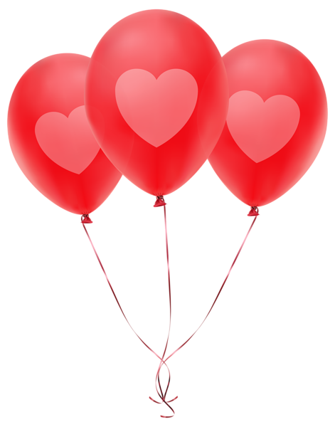 Balloon stick png. Red balloons with heart