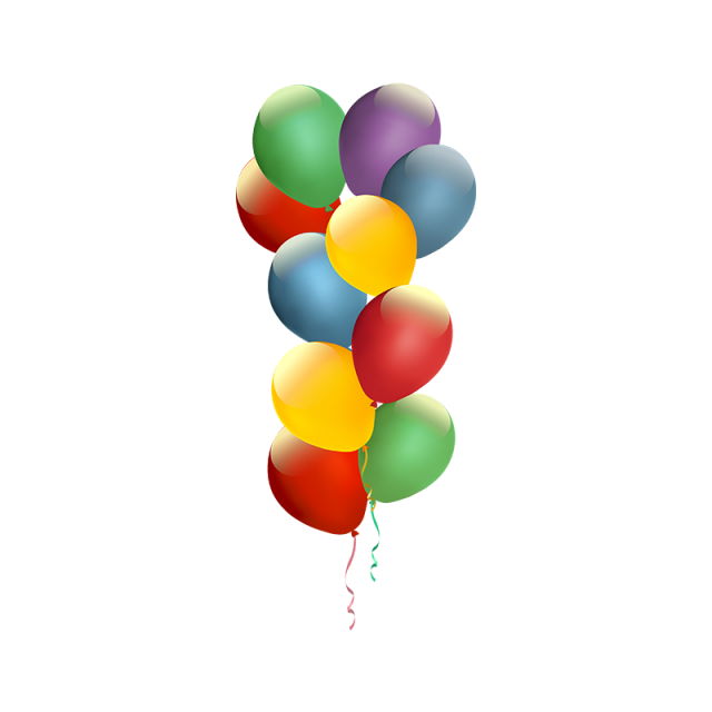 Happy vector birthday balloon. Colorful png and