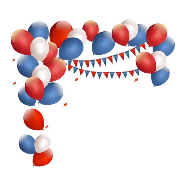 Balloon vector png. Red and blue birthday