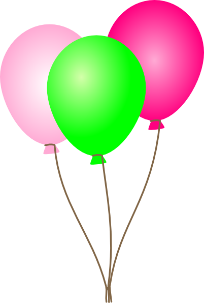 Balloons clipart. Pink and green