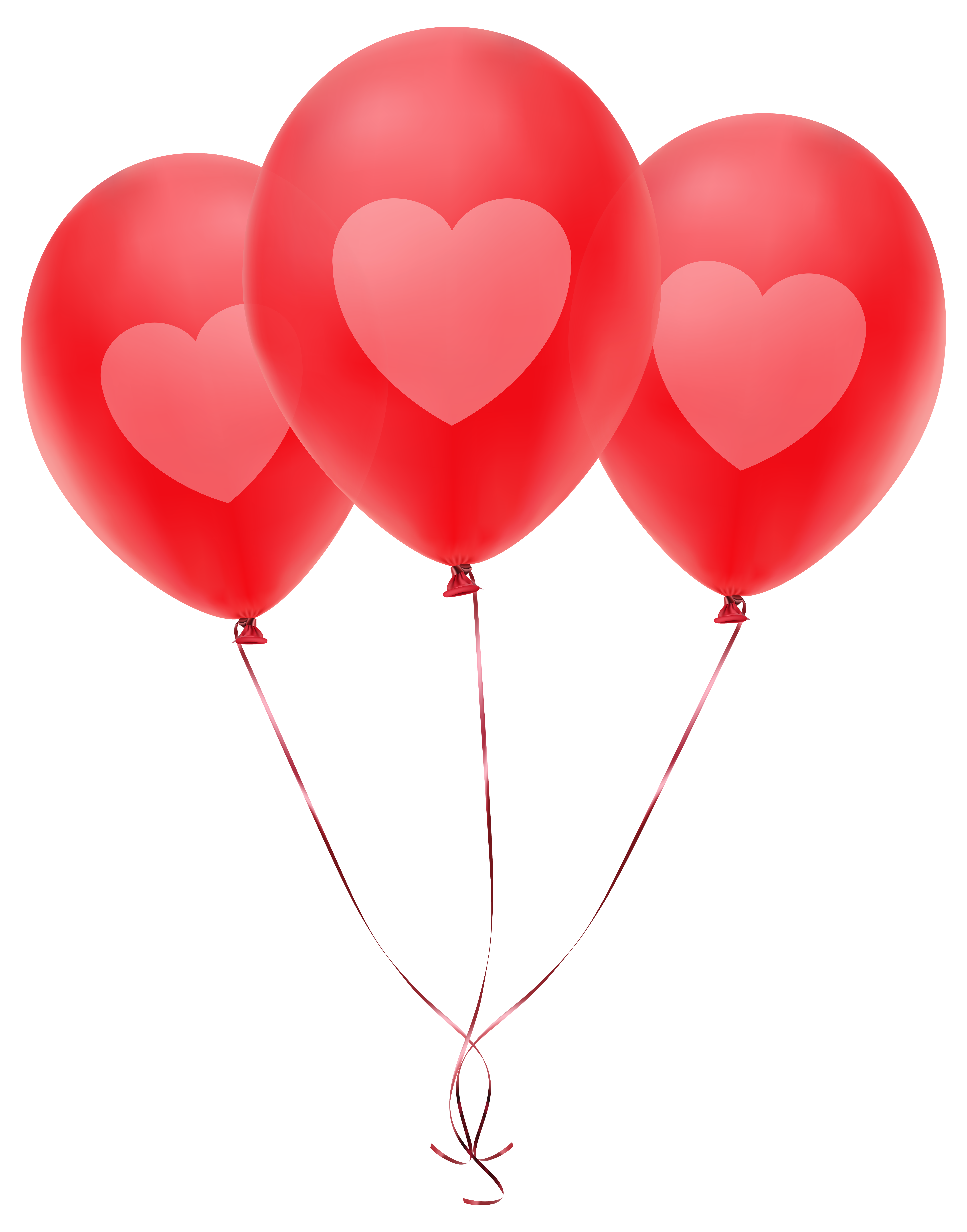 Red balloons png. With heart transparent clip