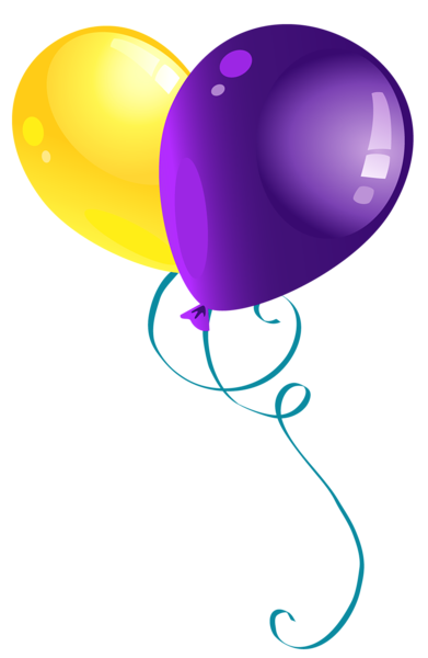 Yellow and purple balloons. Globos dibujo png vector transparent stock