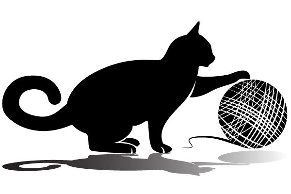 Balls clipart cat. Playing with wool vector