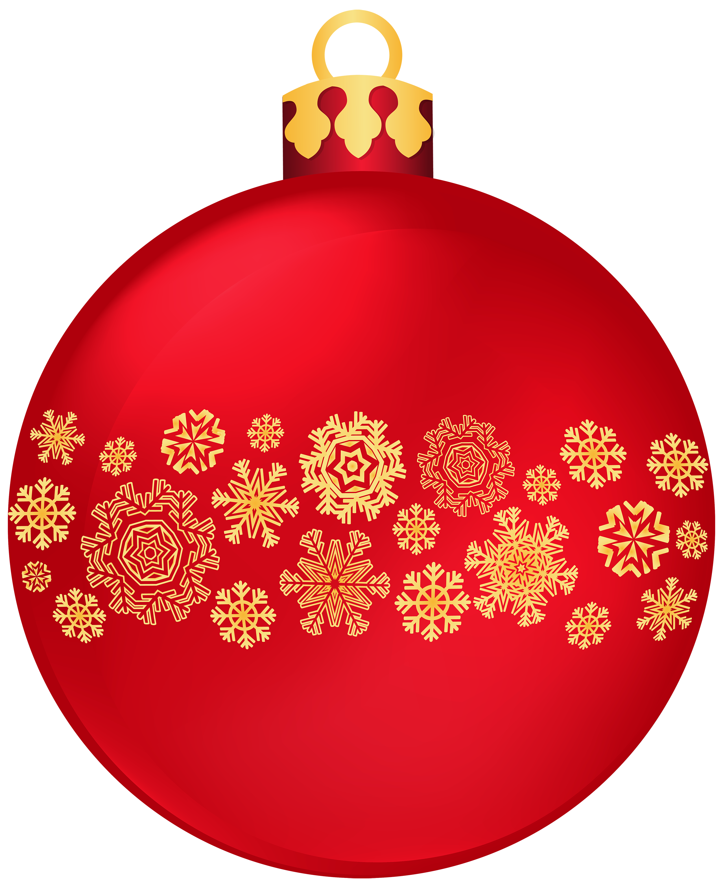 Snowflakes clipart circle. Red christmas ball with